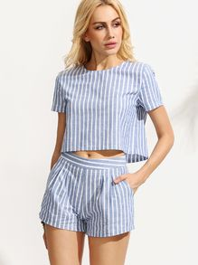 b8f785a1f758e Blue Striped Short Sleeve Top With Shorts Suits Trajes De Baño