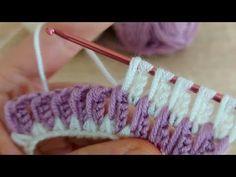 Super Easy Tunisian Knitting - Tunus İşi Çok Güzel Örgü Modeli - YouTube C2c Crochet Blanket, Tunisian Crochet Stitches, Knitting Paterns, Crochet Stitches Patterns, Crochet Motif, Knitting Stitches, Knit Crochet, Crochet Scarves, Crochet Clothes