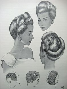 Vintage Hairstyles: Easy Pin Curl Set for Retro Waves Pelo Vintage, Moda Vintage, 1940s Hairstyles, Braided Hairstyles, Wedding Hairstyles, Quinceanera Hairstyles, Updo Hairstyle, Celebrity Hairstyles, Hairdos