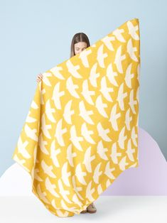 Lintuset means little birds in Finnish language. The blanket is available in large or small size. Designer: Hanna Konola Color: Mustard yellow with reversible pattern Material: merino wool & pure new wool Finnish Language, Shops, Little Birds, Mustard Yellow, Hygge, Fabric Patterns, Finland, Warm, Pure Products
