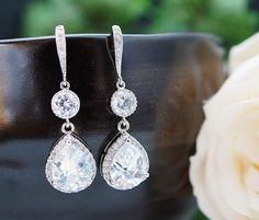 Wedding Jewelry Bridal Jewelry Bridal Earrings cubic zirconia connectors and clear white (LUX) cubic zirconia Crystal tear drops. $43.80, via Etsy.
