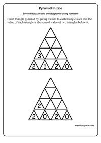 math worksheet : grade 1 math pyramid puzzle worksheetsactivity sheets for kids  : Maths Puzzles For Kids Worksheets