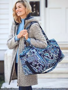 Iconic Large Travel Duffel Bag in Deep Night Paisley Duffel Bag, Large Bags, Whats New, Long Weekend, Shoulder Pads, Travel Bags, Sewing Ideas, Vera Bradley, Paisley