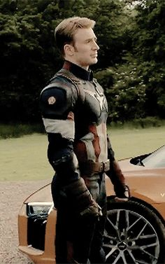 The Captain of America, standing....regal....poised....with grace....and honour....he just exudes confidence....you can smell the patriotism from here