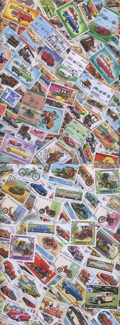 Auto and Vintage Cars 550 Different Thematic Stamps Collection
