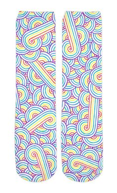 Rainbow and white swirls doodles Crew Socks by @savousepate on RageOn! #colorful #multicoloured