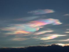 Polar Stratospheric Clouds or PSCs, also known as Nacreous Clouds (from nacre, or mother of pearl, due to its iridescence), are clouds in the winter polar stratosphere at altitudes of 15,000–25,000 meters. They are best observed during civil twilight when the sun is between 1 and 6 degrees below the horizon.