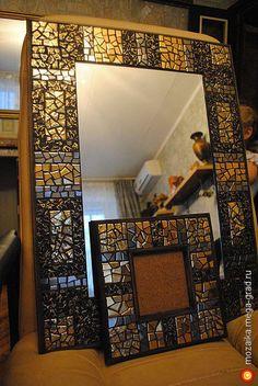 Зеркало Черное Золото - керамика, авторское зеркало для дома. МегаГрад - мега-портал авторской ручной работы Sea Glass Mosaic, Mirror Mosaic, Mosaic Art, Stained Glass, Bright Art, Tile Murals, Tile Design, Colored Glass, Picture Frames