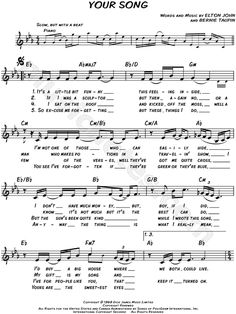 Print and download lead sheets for Your Song by Elton John Includes complete…