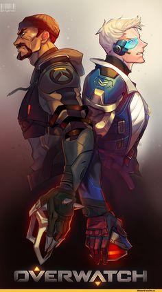 Reaper (Overwatch),Overwatch,Blizzard,Blizzard Entertainment,фэндомы,Soldier 76,Overwatch art