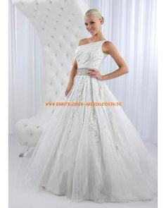 Glamoures Brautkleid A-Linie 2013 aus Organza mit Perlenstickerei