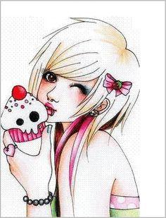 Emo anime girl with skull cupcake.