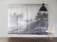 "FREE SHIPPING - Shaded Landscape Wall Mural, Wallpaper, Scenic Mural - 100"" x 80"""