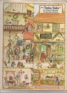 The days before Christmas: An Advent calendar by Tasha Tudor, http://www.amazon.com/dp/B00072YSO0/ref=cm_sw_r_pi_dp_2HdMqb13S11PG