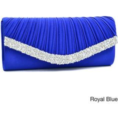 Dasein Pleated Crystal Trim Evening Clutch ($30) ❤ liked on Polyvore featuring bags, handbags, clutches, purses, blue, blue handbags, chain strap purse, purse clutches, blue purse and blue clutches