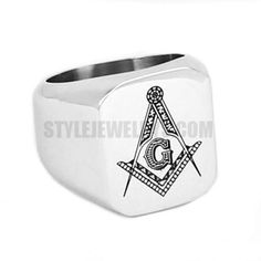 Stainless steel jewelry ring Master Mason compass bow compasses masonic ring SWR0009