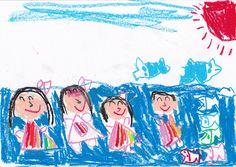 ■■■いわき幼稚園/5歳/女の子■■■ 【作品タイトル】およぐのだいすき!  【伝えたい事】ず-っと夏だったらいいなぁ。いつかイルカの背中に乗るのが夢!