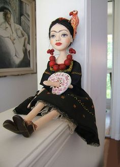 Frida Kahlo BlackYellow hand made Art Dolls by BarbaraCharacters, $550.00.