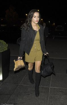 Looking leggy: Georgia May Foote was seen making her way to her London hotel on Friday night after an appearance on It Takes Two