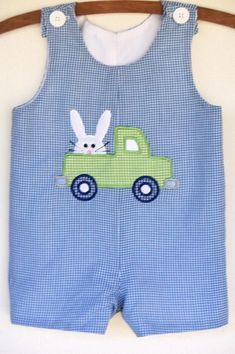 Easter Bunny Truck applique minky dot rabbit by MarcootBoutique Toddler Outfits, Baby Boy Outfits, Kids Outfits, Baby Sewing Projects, Sewing For Kids, Baby Boy Haircuts, Blue Gingham, Baby Kind, Cute Baby Clothes