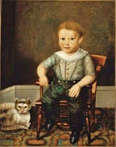 Unknown American artist.  Boy with a Cat 1845
