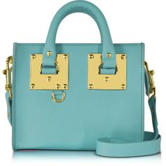 Sophie Hulme Handbags Aqua Leather Albion Box Tote Bag ($635) ❤ liked on Polyvore featuring bags, handbags, tote bags, blue totes, leather tote purse, leather tote bags, leather purses and blue leather tote bag