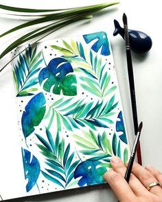 19 Ideas For Painting Art Diy Artists Motif Tropical, Tropical Pattern, Tropical Leaves, Tropical Art, Tropical Plants, Kunst Inspo, Guache, Watercolor Flowers, Painting Flowers