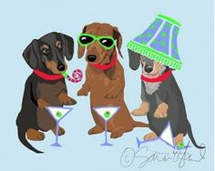 """Party Animals Dachshunds Matted Graphic Art Print, from Dogstuff.com. It's 5 o'clock somewhere! Sara England's """"Party Animals"""" print of three sophisticated looking Dachshunds gathered with cocktails, party favors and one's already got a lampshade on it's head! Print comes double matted, white with a thin black inlay..."""