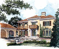 Spanish Colonial Romance - 56129AD | Florida, Mediterranean, 2nd Floor Master Suite, MBR Sitting Area, PDF | Architectural Designs