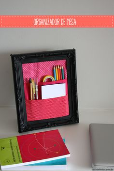 making this with magnets on the back to stick to my filing cabinet Desk Organization Diy, Diy Desk, Diy Storage, Crafts To Do, Diy Crafts, Diys, Diy Vanity, Getting Organized, Office Decor