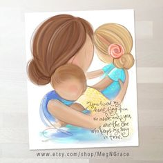 Mother and Daughters Wall Art Gift for Mom, Baby Shower Gift, Art for Nursery Girls Room Decor, Family Pictures On Wall, Nursery Pictures, Family Wall Art, Mother Daughter Art, Mother And Child, Daughter Poems, Baby Kind, Mom And Baby, Gifts For Wife