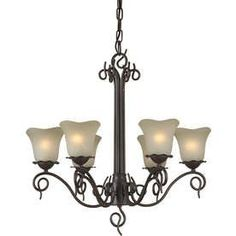 Shandy 26-In 6-Light Antique Bronze Tinted Glass Candle Chandelier Lw2