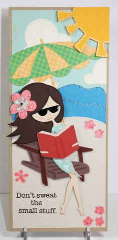 """Cricut """"Life is a Beach"""" - beach chair, umbrella. The hula girl was altered to make this girl appear to be sitting down."""