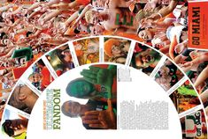 Student life Create full page spread with circle in the center. Great way to cover sporting events and/or pep rallies. (Great for use with the UNIVERSITY OF MIAMI inspiration. Use as a full page to cover sporting events or a pep rally Yearbook Mods, Yearbook Class, Yearbook Pages, Yearbook Spreads, Yearbook Covers, Yearbook Theme, Yearbook Design Layout, Yearbook Layouts, Yearbook Ideas