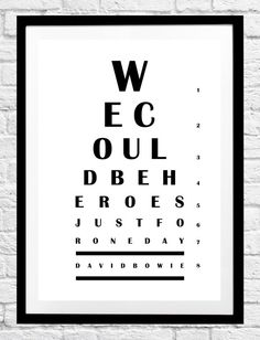 David Bowie 'We Could Be Heroes Just For One Day' Song Lyrics- Eye Chart Minimalist Poster, Typography Print,etsy