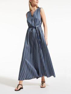 eb2369c1336 Max Mara RUMENA navy  Silk and ramie canvas dress.
