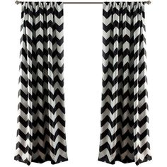 Lush Decor Chevron Blackout Curtain Panel (Set of 2) (160 BRL) ❤ liked on Polyvore featuring home, home decor, window treatments, curtains, decor, black, window, black window panels, chevron curtains and zig zag curtains