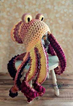 497aeb33eaa Crochet octopus hat cephalopod by HookedStrandsCrochet on Etsy Crochet  Octopus