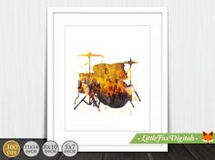 Printable Drums Music Rock Watercolor Texture by LittleFoxDigitals