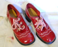 Vintage 1970s Red Patent Funky Disco Chunky Heels Oxford Shoes 5 1 2 M | eBay