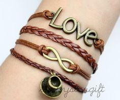 Coffee cup infinite infinite love bracelet & brown rope brown leather braided bracelet fashion novel -Q255 by luckystargift, $4.99