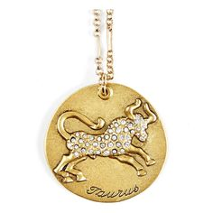 Sequin Taurus Zodiac Necklace in Antique Gold as seen on Jessica Alba