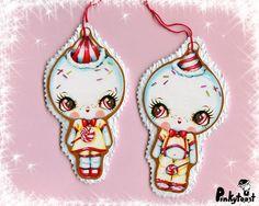 Kawaii snow gingerbread baby christmas ornament pair pinkytoast etsy