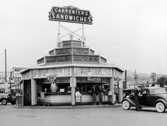 Carpenter's Sit'n Eat Sandwiches, a drive-in restaurant on the corner of Sunset and Vine in Hollywood. Photos circa photographer of top photo unknown, bottom photo from the California Historical. California History, Vintage California, Southern California, Hollywood California, Old Photos, Vintage Photos, Vintage Signs, Vintage Diner, Retro Diner