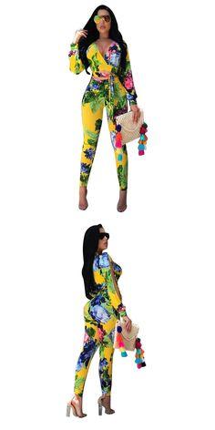 71580503b1e 2017 Autumn Women 2 Piece Set Fashion Floral Print Sexy Deep V Long Sleeve  Crop Tops