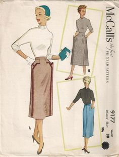 McCall's 9177 ©1952 skirt I have a skirt with similar lines to the front pencil version.  So modest-sexy and perfect!
