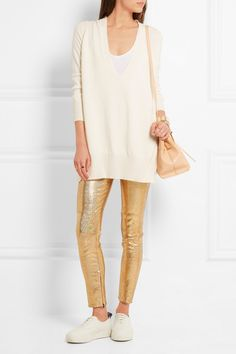 Isabel Marant | Pantalon skinny en cuir métallisé Dysart | NET-A-PORTER.COM