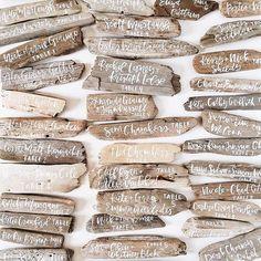 beach wedding calligraphy on driftwood // escort cards Seaside Wedding, Nautical Wedding, Trendy Wedding, Elegant Wedding, Destination Wedding, Wedding Venues, Decor Wedding, Coastal Wedding Ideas, Wedding Signs