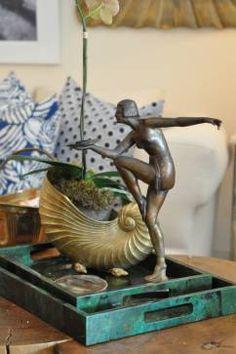 Antique Brass Art Deco Figure - Mecox Gardens Palm Beach