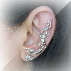 Silver Ear Cuff Elegant Ear Wrap by ElectriccDreams on Etsy, $11.50